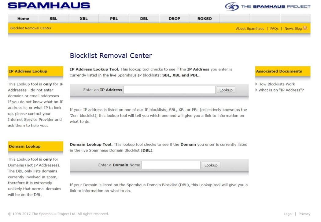 spam haus lookup tool