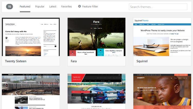Choisir des thèmes sous WordPress.