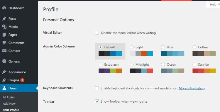 L'interface de configuration de WordPress.
