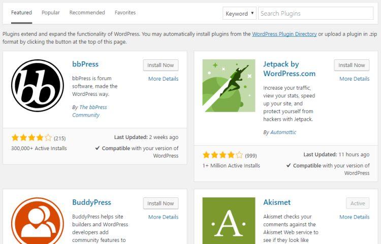 Le répertoire de plugins de WordPress.