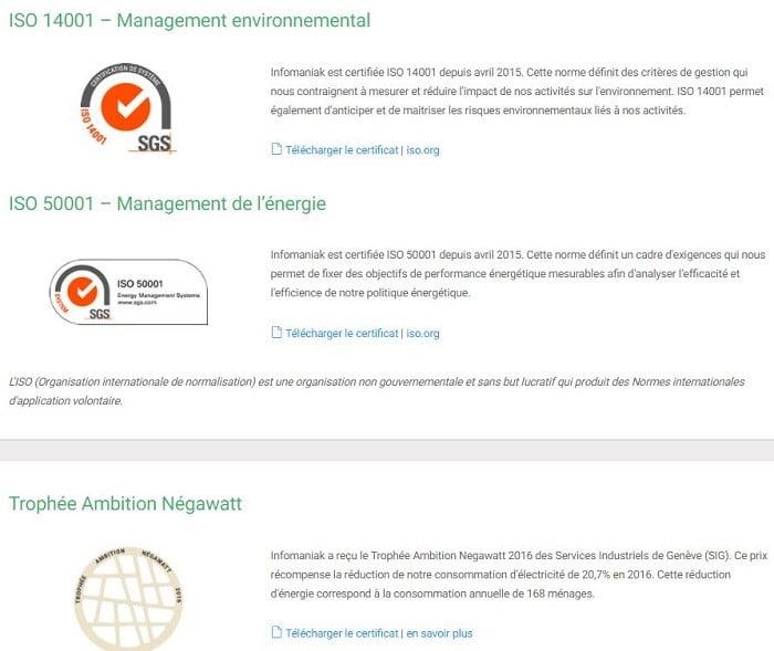 Récompenses et certicats écologiques d'infomaniak