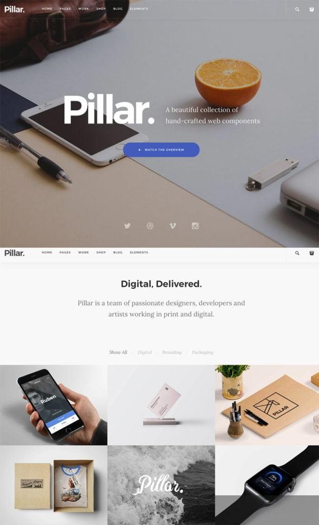 Template de site Web HTML Pillar