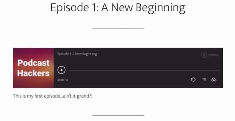 Créer votre première épisode avec Castos